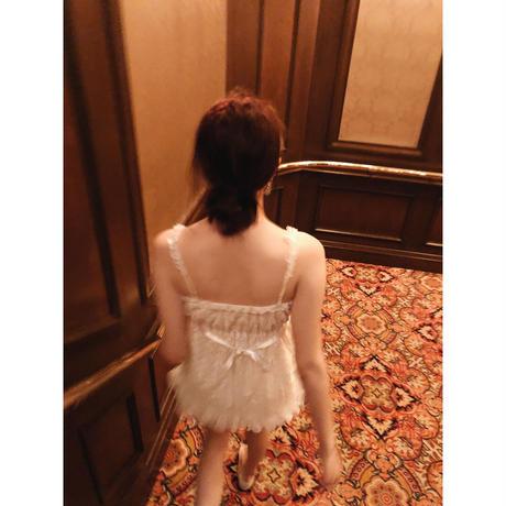 lace frill back ribbon tops white