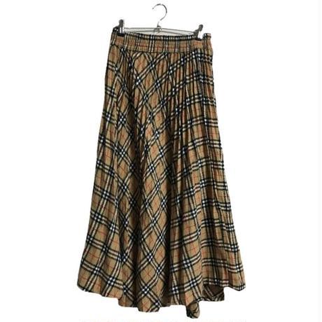 check pleats long skirt