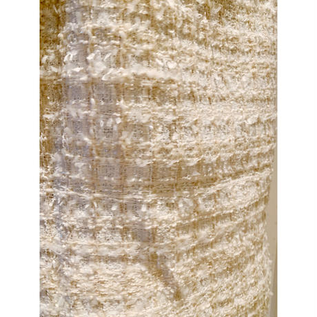 tweed ribbon brooch onepiece ivory