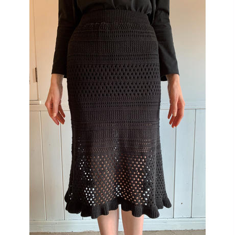 knit crochet skirt black