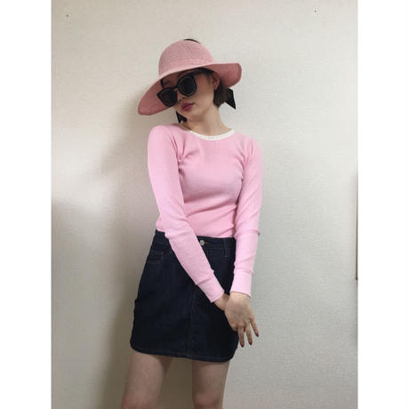 lace design thermal tops pink(No.2503)