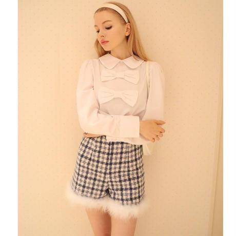 big ribbon puff blouse white