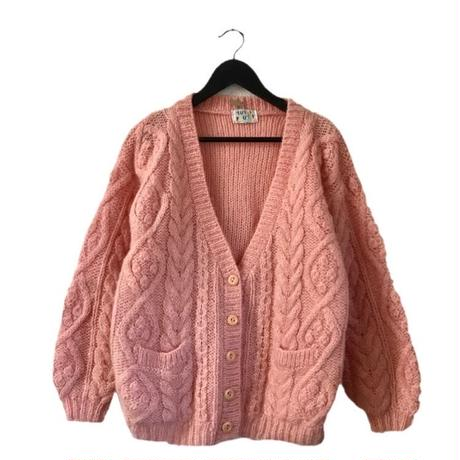 milky pink Vneck knit cardigan