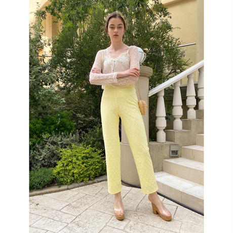 flower lace pants yellow