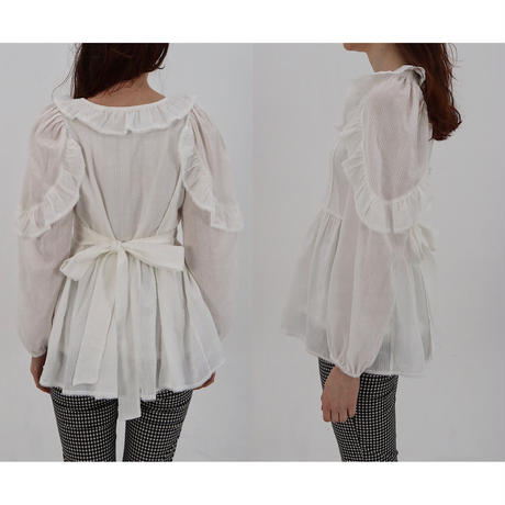 shoulder frill lace tunic white