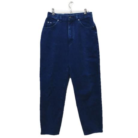 high-waist blue denim