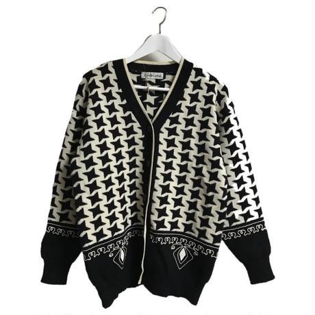monotone  check cord embroidery knit cardigan
