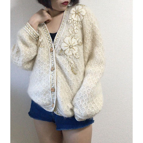 bijou design white knit cardigan
