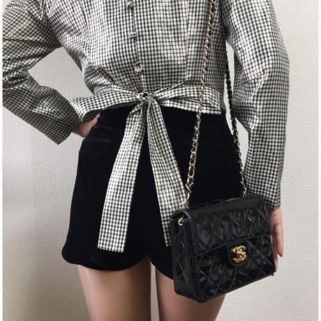 back ribbon check blouse