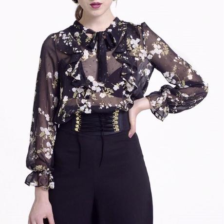 see-through monotone flower blouse