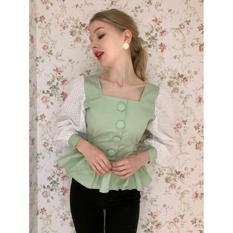 arm lace pepram blouse pistàcchio