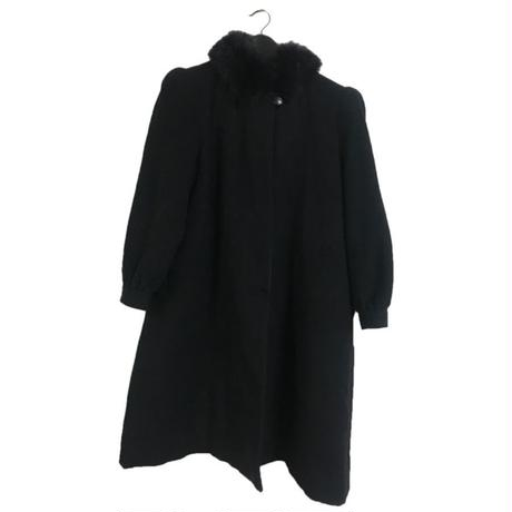 fur long wool coat black