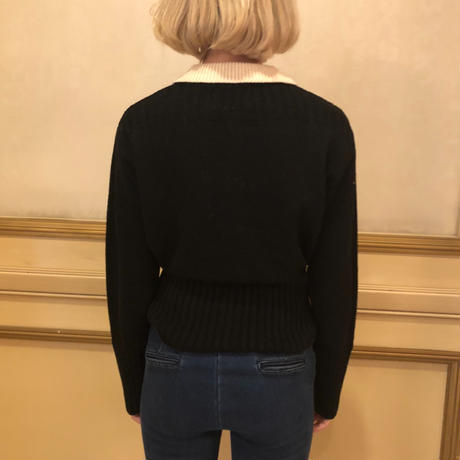bi-color gold botton knit cardigan black