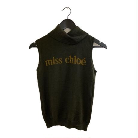miss chloé logo high neck desk knit tops(No.3362)