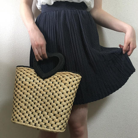 pin-dot design pleats skirt