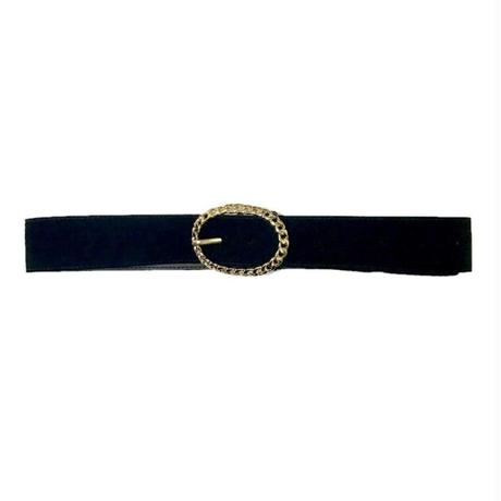 gold buckle suède belt black