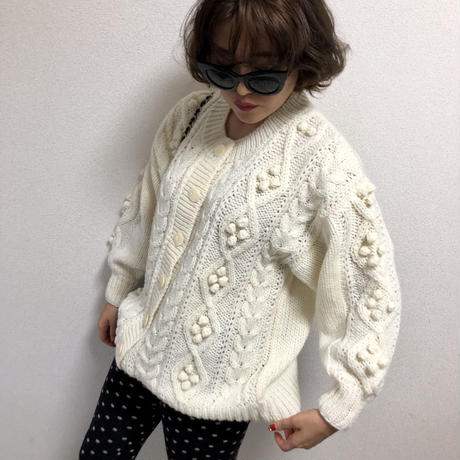 pon pon cable knit cardigan ivory