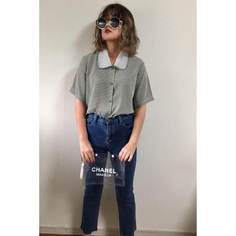 see-through collar stripe blouse