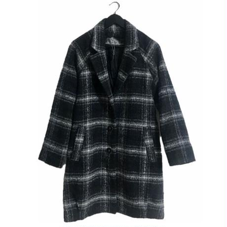 monotone check wool coat