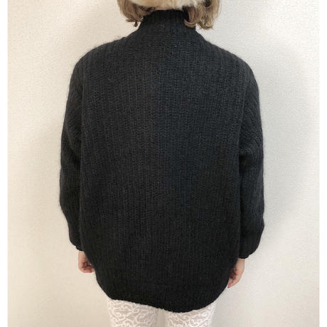 cable knit coat black