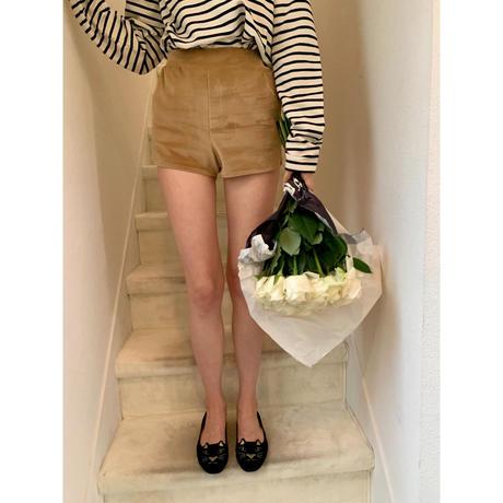 side slit velours short pants beige