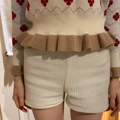 flower  frill knit ivory