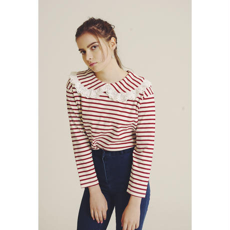 lace collar border tee red
