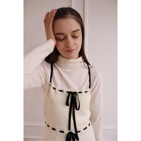 velours ribbon knit onepiece ivory