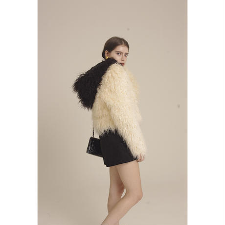 hood 2way volume fur coat bi-color white