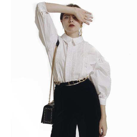 arm volume frill blouse white