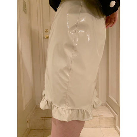 pvc frill mini skirt ivory