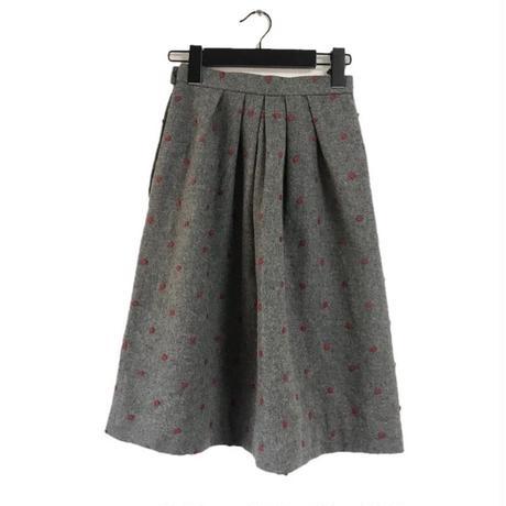 dot wool skirt gray