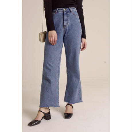 high waist light blue denim