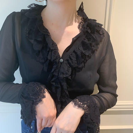 frill design see-through blouse(No.1715)