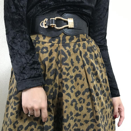 leopard corduroy wide pants