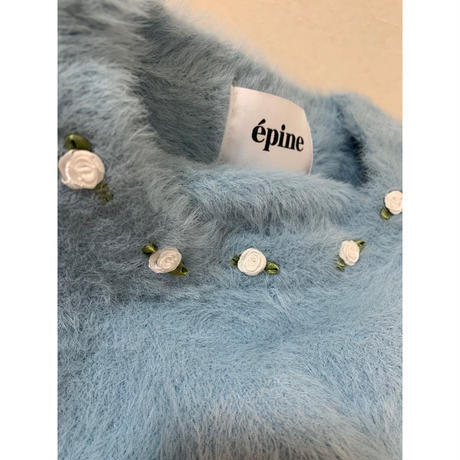 rose mohair knit ice blue