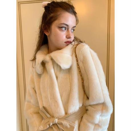 parisienne ribbon 2way fur coat ivory