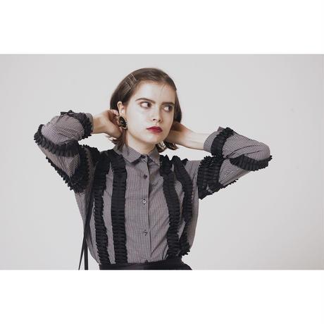 monotone check frill blouse