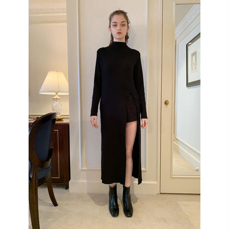 slit rib knit onepiece black