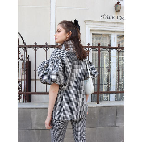 gingham check arm balloon jacket
