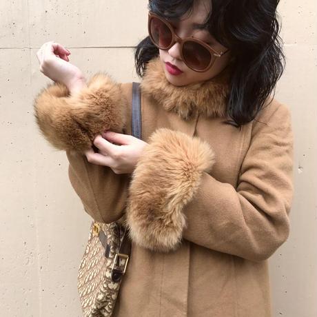 real fur camel long coat