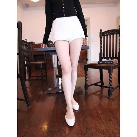 high-waist mohair short pants ivory