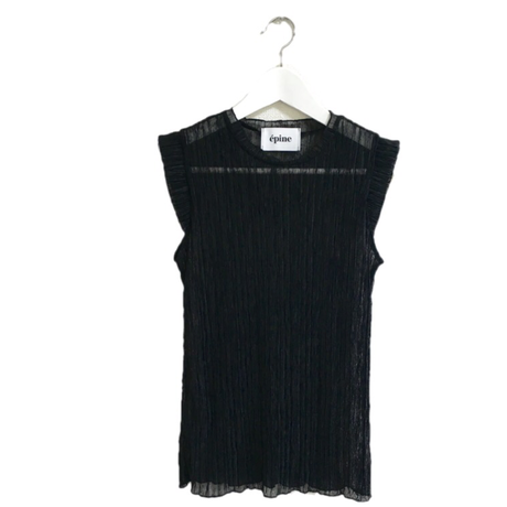 see-through pleats tops black