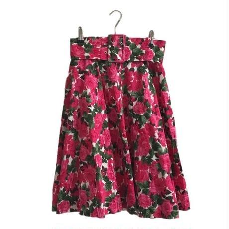 pink flower belt flare skirt