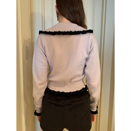 frill collar pearl knit cardigan lavender×black