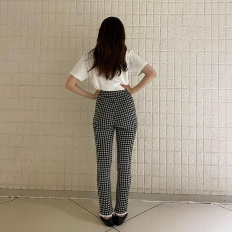 lace frill check long pants