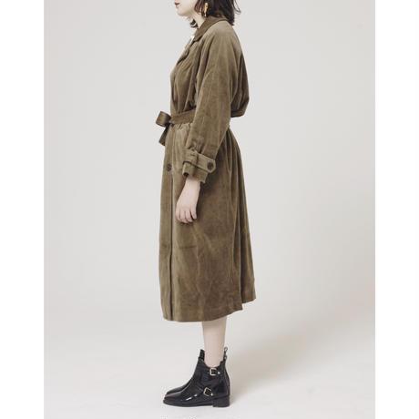 velour gown trench coat beige