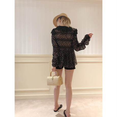 see-through flower lace chiffon blouse