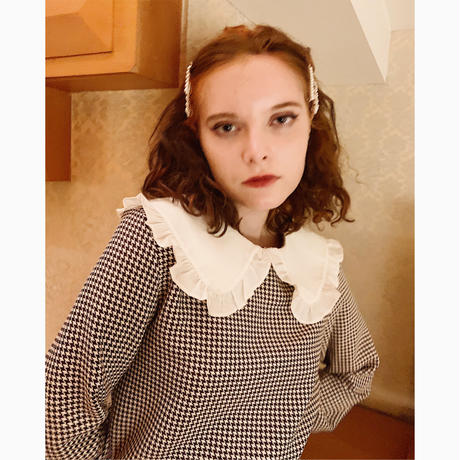 frill collar  check blouse brown×ivory