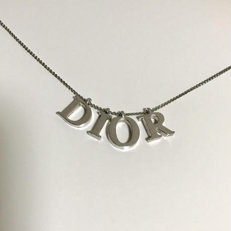 Dior logo necklace silver